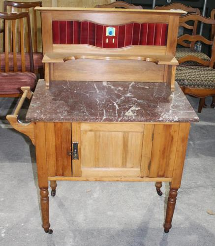 Satin Walnut Marble Top Washstand - 1920s (1 of 4)