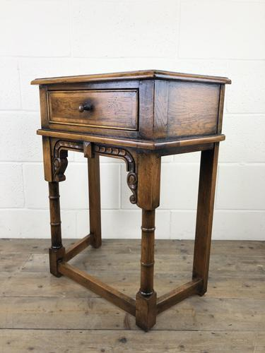 Vintage Oak Side Table with Drawer (1 of 11)