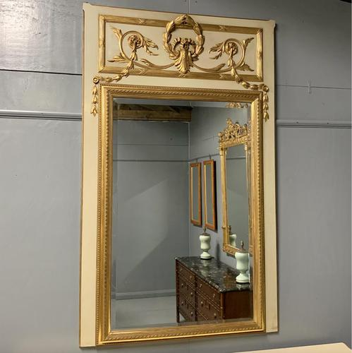 Large French Paint & Gilt Trumeau Mirror (1 of 11)