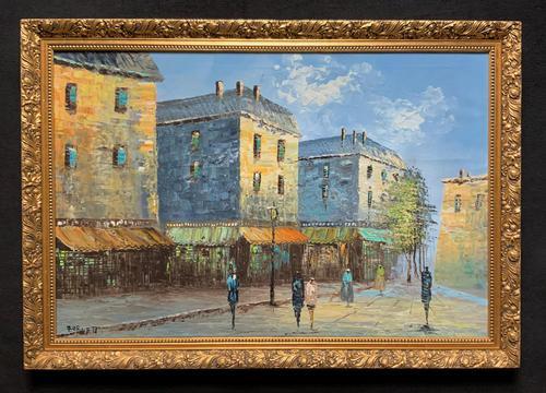 Fine Large Original Vintage Parisian Street Cityscape Impressionist Oil Painting (1 of 11)