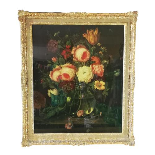 19th Century Victorian Reverse Glass painting Still Life of Floral design (1 of 8)