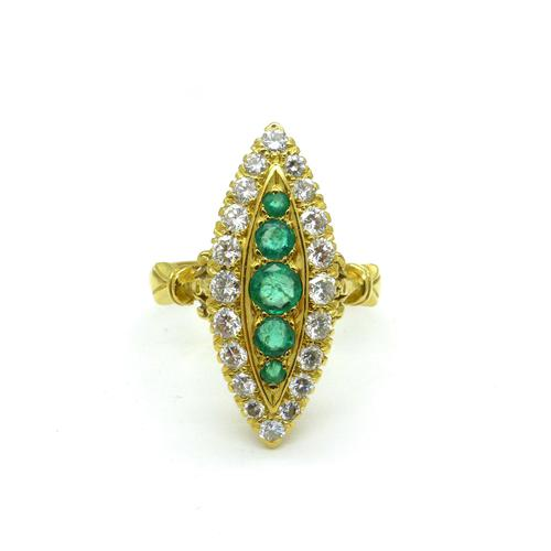 Vintage 18ct Gold Emerald & Diamond Marquise / Navette Cluster Ring c.1920s ~ With Independent Appraisal Valuation (1 of 9)