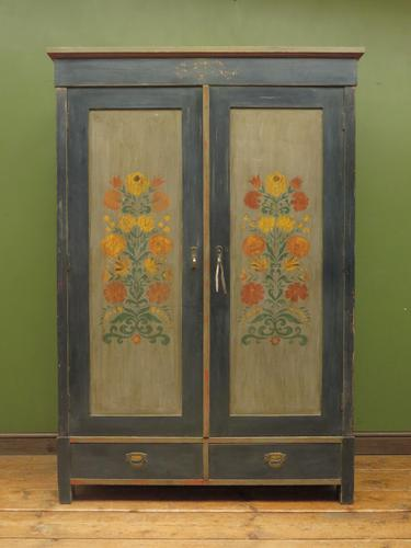 Antique Swedish Style Painted Folk Art Wardrobe Armoire (1 of 22)