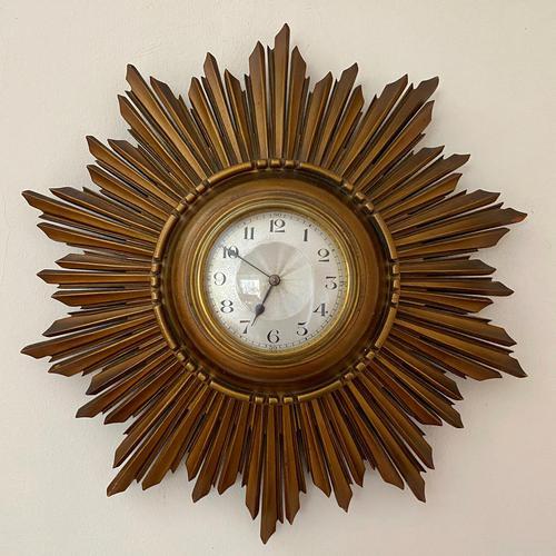 Stylish Art Deco Carved Giltwood Starburst Clock c.1930 (1 of 8)