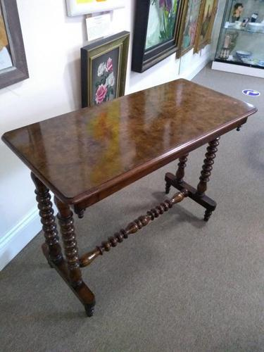 Victorian Burr Walnut Side Table with Bobbin Turned Legs (1 of 4)