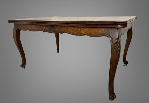 French Parquetry Extending Dining Table Oak & Walnut (1 of 10)