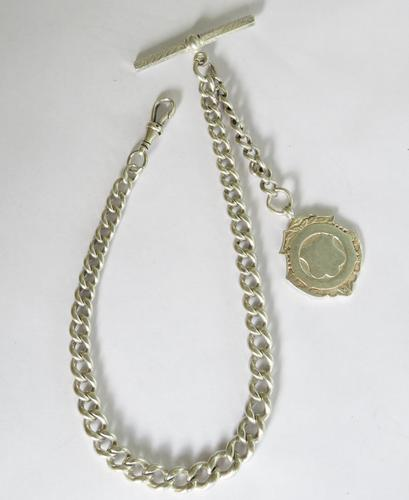 Antique Single Silver Pocket Watch Chain & Fob (1 of 4)