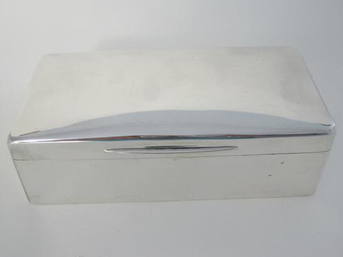 Late Victorian Plain Silver Rectangular Cigar or Trinket Table Box (1 of 8)