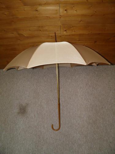 Vintage Ladies Beige Canopy Umbrella with Skilfully Clad Leather Crook Handle (1 of 14)