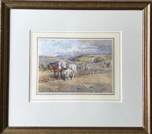 Ploughing the Fields - Downland Watercolour by Harold Swanwick 1905 (1 of 5)
