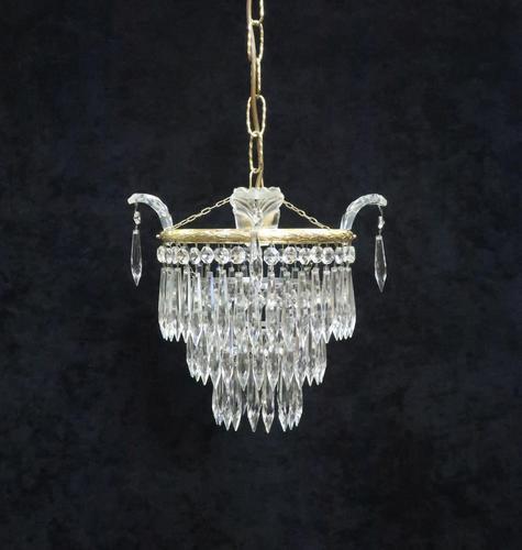 Italian Art Deco Three Tier Crystal Glass Chandelier (1 of 7)