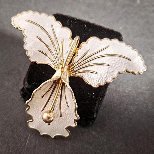 Silver & Enamel Orchid Brooch (1 of 4)