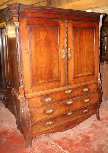 1800's Dutch Mahogany Bombee Base Linen Press (1 of 6)
