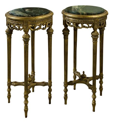 Pair of French Giltwood Carved Marble Top Stands (1 of 6)