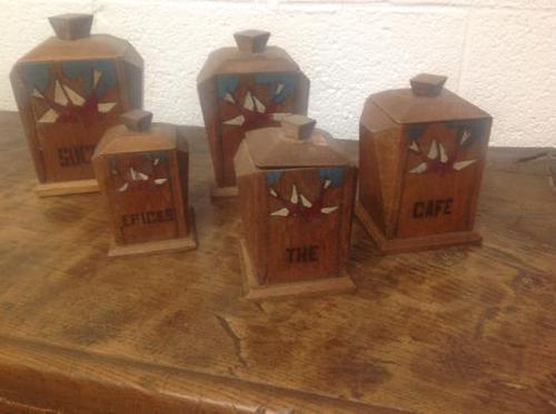 Rare Set of French Art Deco Solid Oak Graduated Kitchen Storage Jars for Coffee, Flour, Salt, 9 in French of Course (1 of 6)