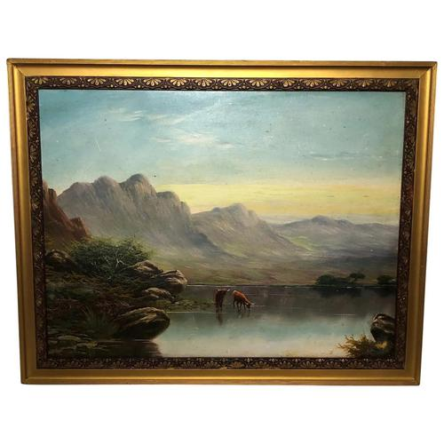 Victorian 19th Century Oil Painting Scottish Highlands Loch Cattle Drinking (1 of 12)