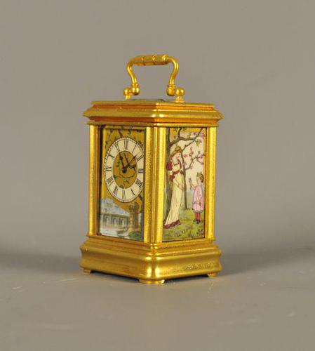 Minature Carriage Clock with porcelain panels (1 of 10)