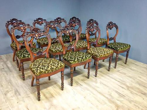 12 Walnut Irish Dining Chairs (1 of 7)