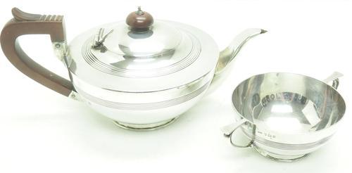 Solid Silver Tea Pot & Sugar Bowl Art Deco Silver Tea Pot (1 of 7)