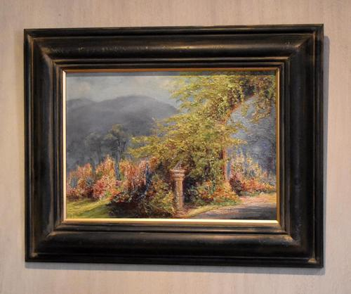 Garden scene oil painting by V. Rawlins (1 of 7)