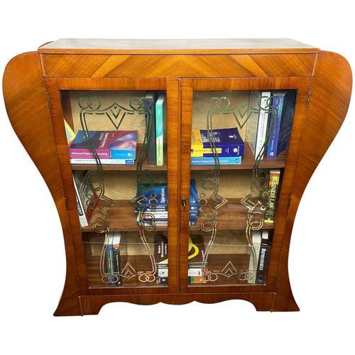 Art Deco Walnut Curved Bookcase Display Storage Cabinet (1 of 29)