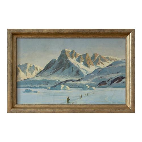 Emanuel A Petersen, Arctic Landscape With Inuit, Oil Painting (1 of 8)