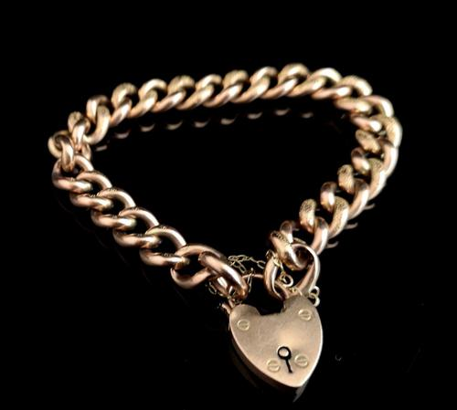 Antique Victorian 9ct Rose Gold Curb Bracelet, Heart Padlock (1 of 13)