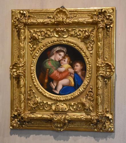Porcelain Plaque of the Madonna Della Sedia by Raphael (1 of 9)