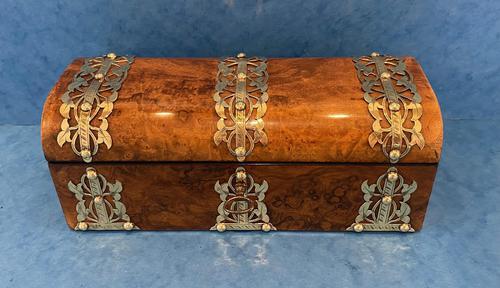 Victorian Brassbound Burr Walnut Glove Box (1 of 9)