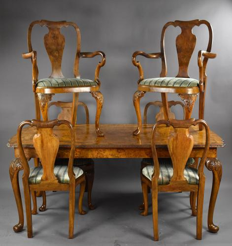 Queen Anne Style Burr Walnut Table & Chairs c.1920 (1 of 22)