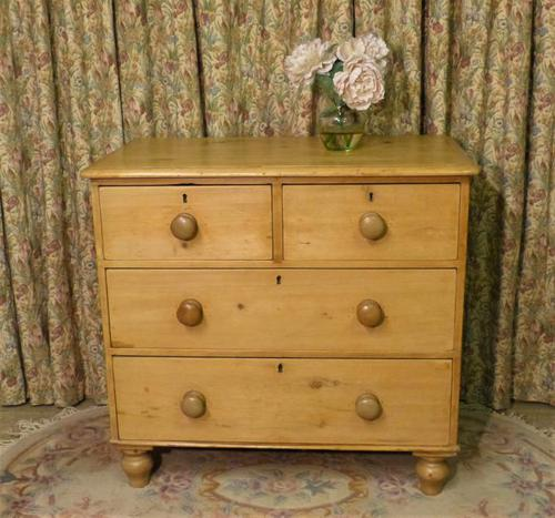 Petite Antique Chest - Stripped Pine Chest of Drawers (1 of 8)