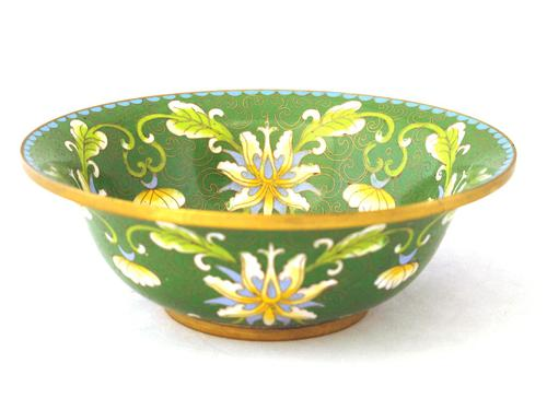 Fine Japanese Green Cloisonné Orchid Bowl (1 of 5)