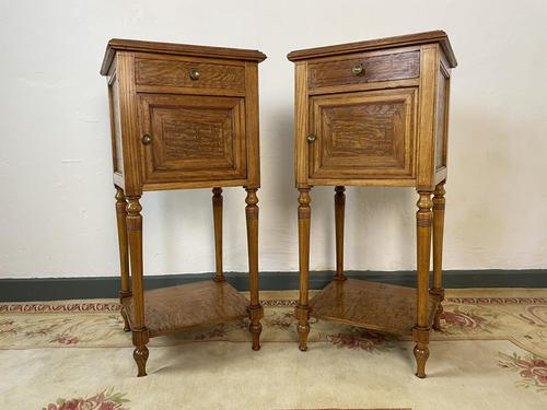 Antique French Bedside Cabinets Marble Tops Walnut Pot Cupboards (1 of 12)