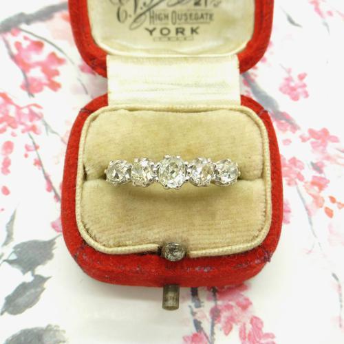 Vintage 18ct Old Mine Cut Diamond Five Stone Ring 1.35ct (1 of 10)