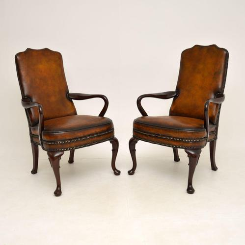 Pair of Georgian Style Leather & Mahogany Armchairs c.1930 (1 of 11)