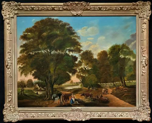 Huge Fabulous 19thc Continental Farming Country Landscape Oil Painting (1 of 19)