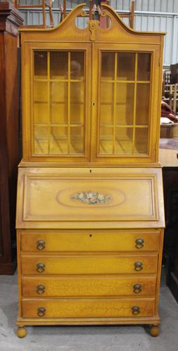 1940's Yellow Painted Bureaux Bookcase in Crackled Effect (1 of 4)
