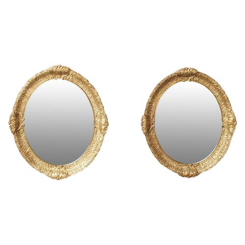 Victorian Pair of Carved Gesso & Gilded Oval Wall Mirrors (1 of 8)