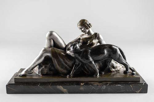 Stunning French Art Deco Bronze & Silvered Sculpture. Signed A.Ouline - Lady & Panther (1 of 11)