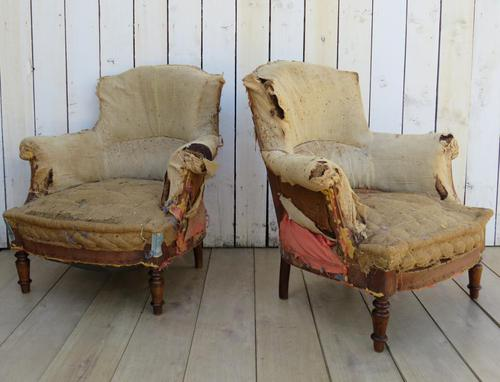 Pair of French Tub Armchairs for re-upholstery (1 of 9)