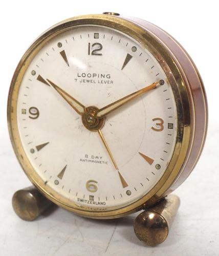 Antique Travelling Mantel Clock with Original Leather Outer Case 8-Day Mantel Clock by Looping with 7 Jewels (1 of 9)