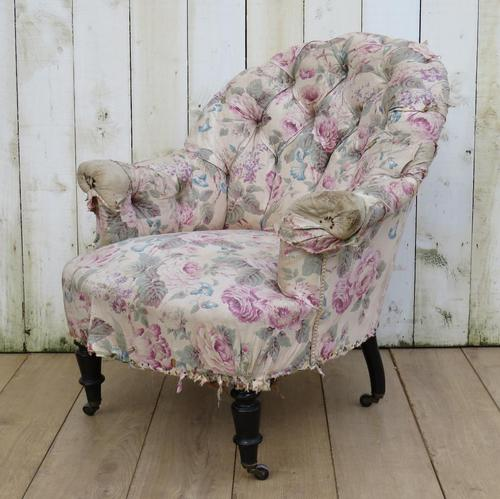 Antique Napoleon III Tub Armchair for re-upholstery (1 of 8)