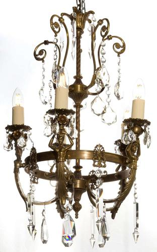 Antique Bronze French Figural 5 Light Chandelier (1 of 7)