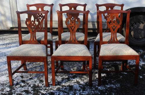 1960 Set 6 Mahogany Georgian style Dining Chairs in a Pale Pattern. (1 of 3)