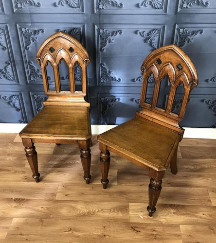 Pair of Victorian Gothic Style Hall Chairs (1 of 13)