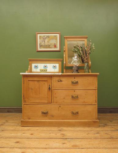 Antique Victorian Pine Washstand with Marble Top & Mirror, Adaptable Sink Unit (1 of 21)
