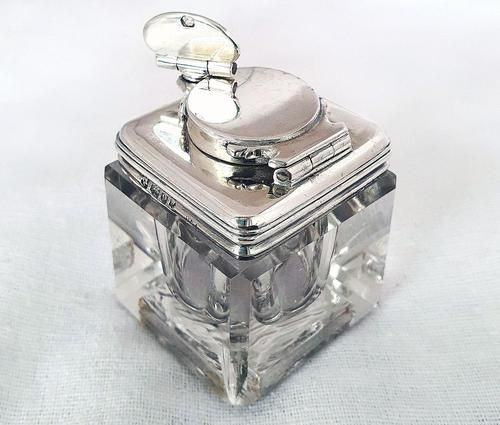 Antique Georgian 1829 Solid Sterling Silver & Glass Travelling Inkwell Ink Pot - 19th Century (1 of 10)