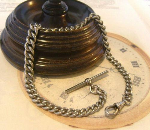 Antique Pocket Watch 1890s Victorian Large Silver Nickel Graduated Albert (1 of 11)
