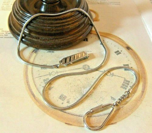 Vintage Pocket Watch Chain 1970s Long Silver Chrome Snake Link Albert & Belt Clip (1 of 10)