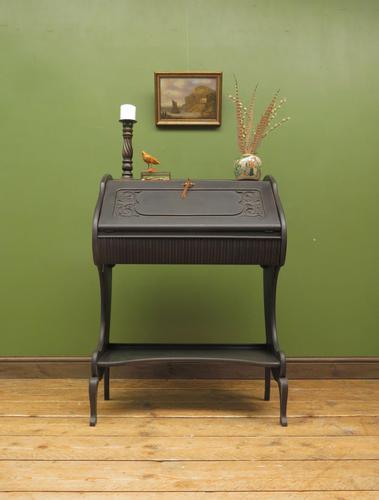Antique Art Nouveau Black Writing Bureau Desk with Carvings, Lockable, Gothic (1 of 23)